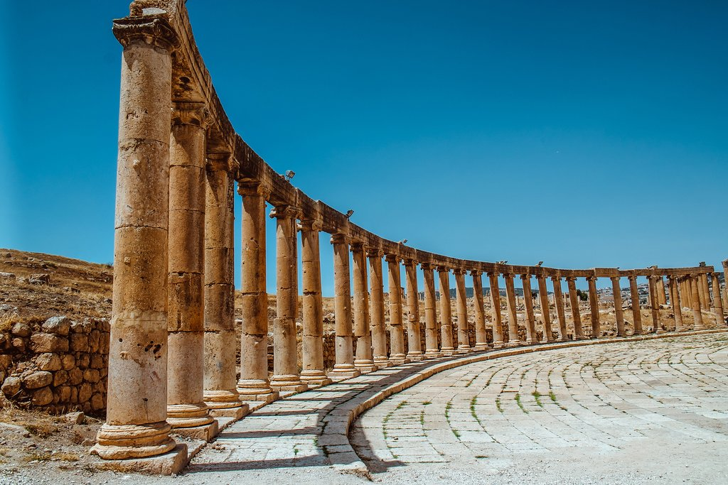 The ancient ruins in Jerash
