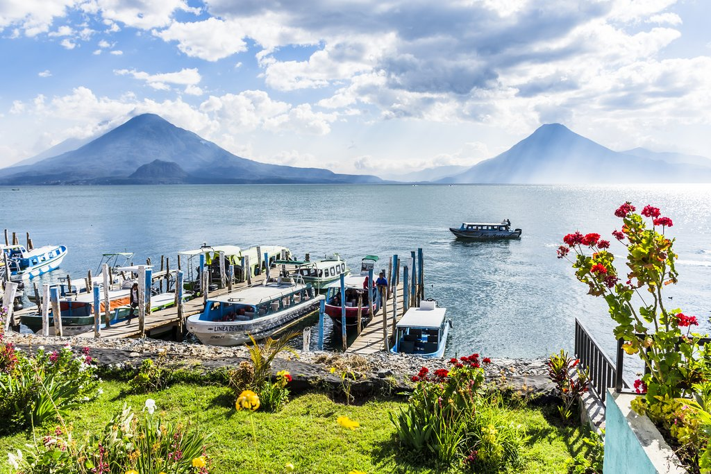 Guatemala - Lake Atitlán - Panajachel harbor with view of Toliman, Atitlán & San Pedro