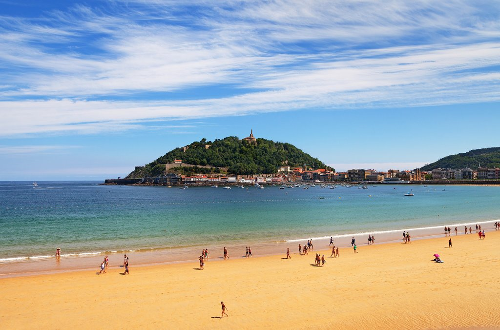 Sandy beaches in San Sebastian