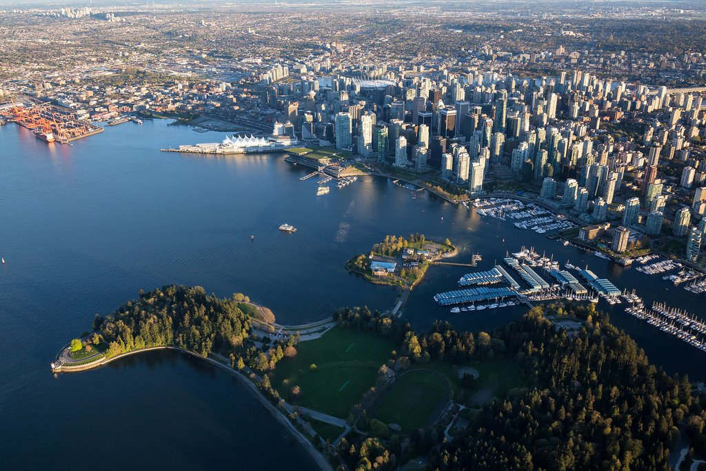 Stanley Park, Deadman's Island, and downtown Vancouver