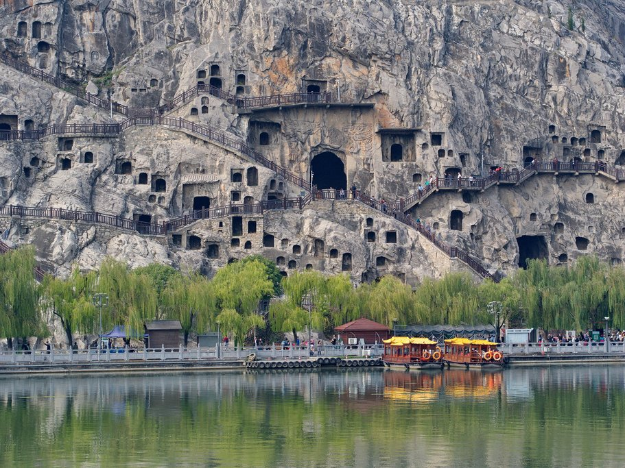 The ancient caves at Longmen Grottoes