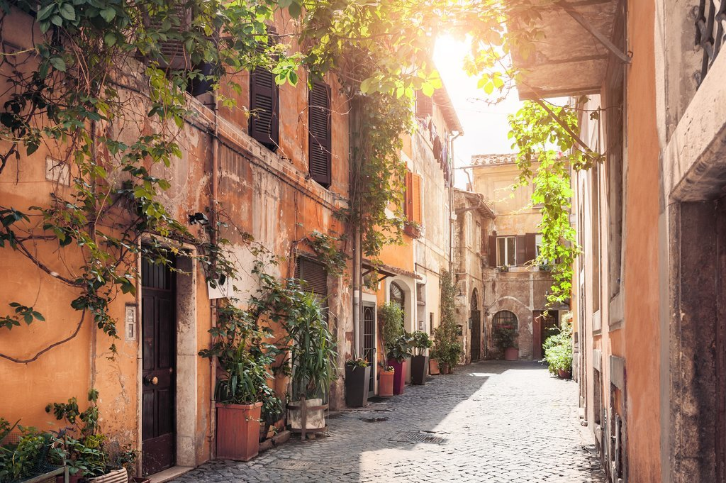 Sun-filled street in Trastevere
