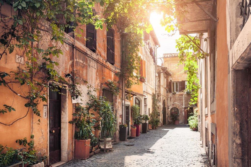 Sun-filled street in Trastevere