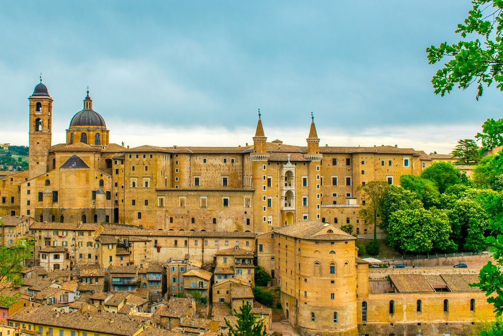 The rooftops of Urbino's medieval old town and Ducal Palace.