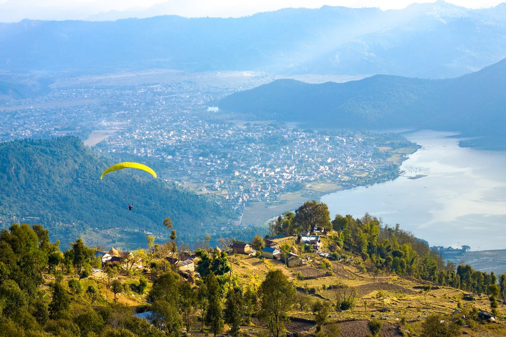 Looking down on the city of Pokhara and Phewa Lake from Sarangkot