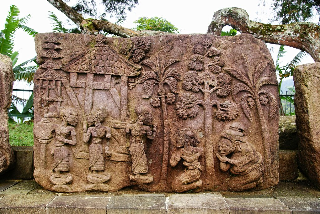 Marvel at the ancient bas-reliefs of Sukuh Temple