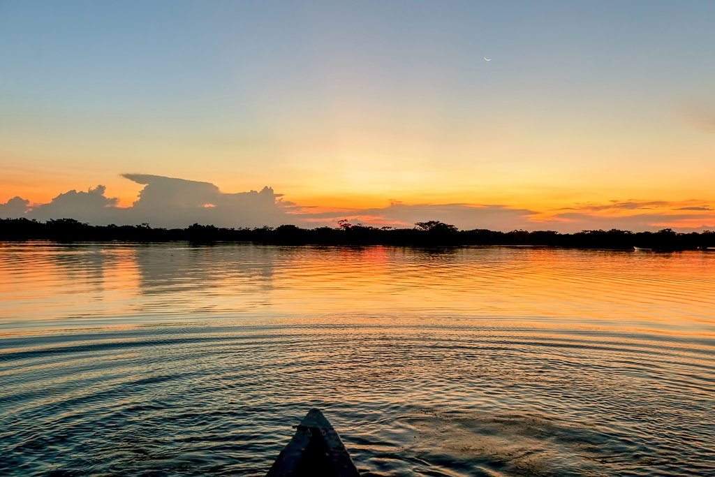 A relaxing sunset in the Amazon