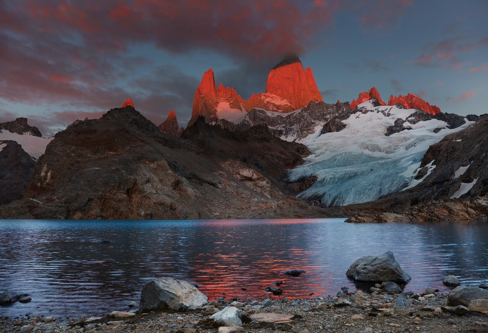 If lucky, you'll catch a sunrise in Mt. Fitz Roy