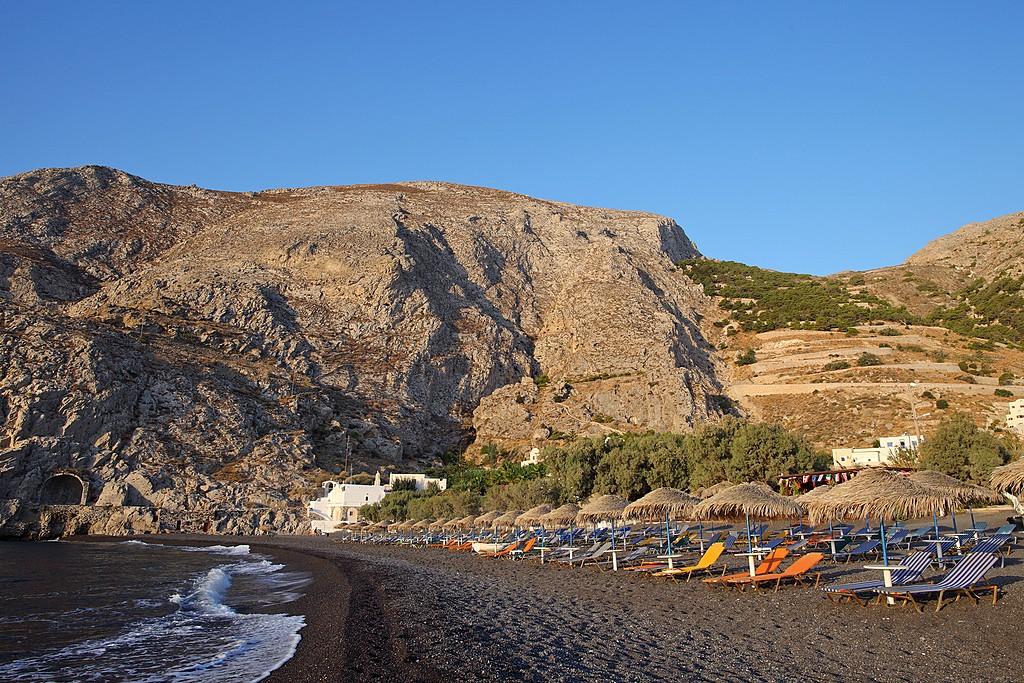 Kamari Beach and Mesa Vouna mountain