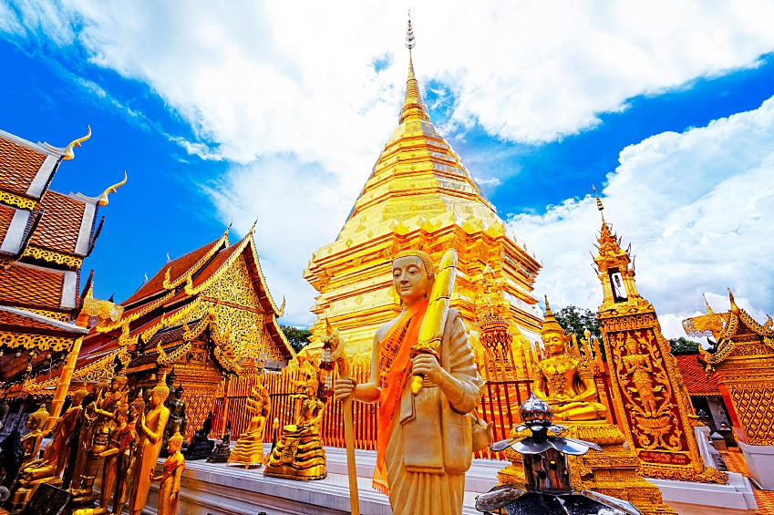 Visit the sacred Doi Suthep Temple at sunset