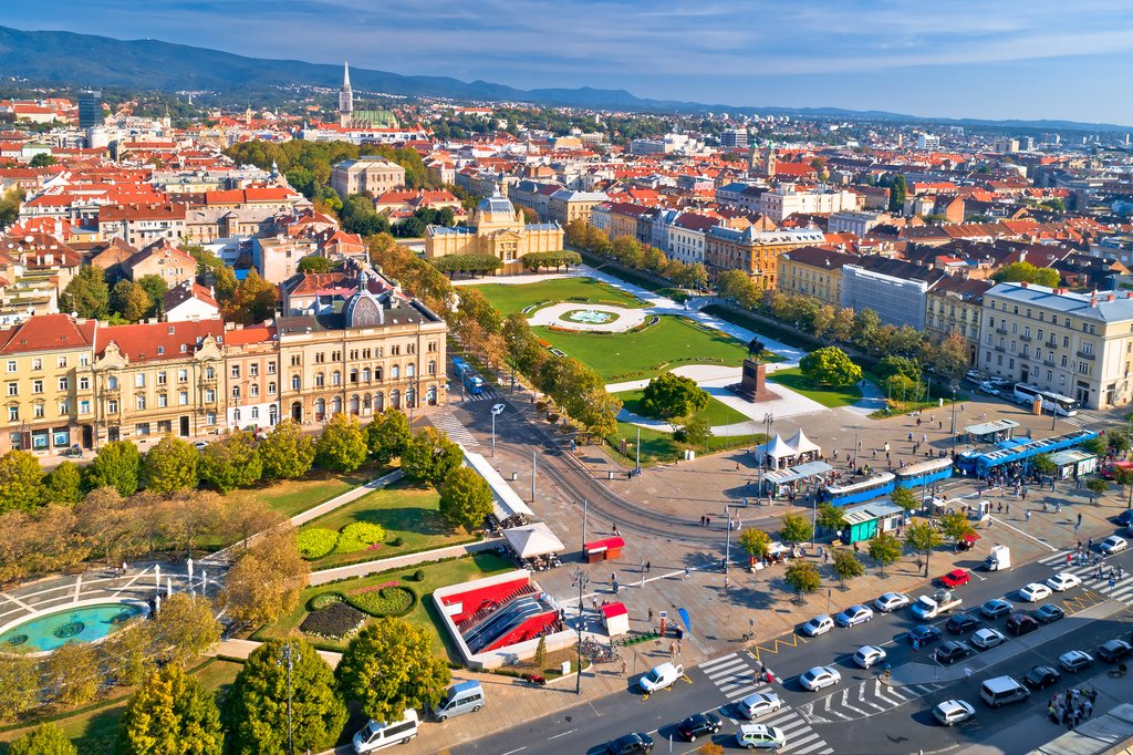 Aerial view of Zagreb historic city center