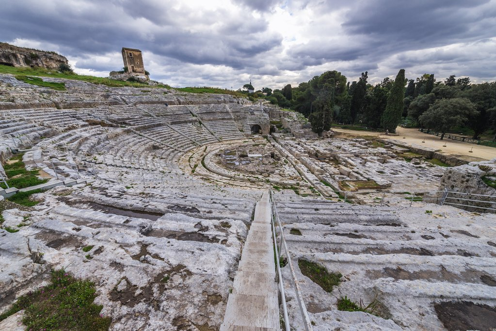 Ruins of Ancient Greek Theater in Neapolis Archaeological Park