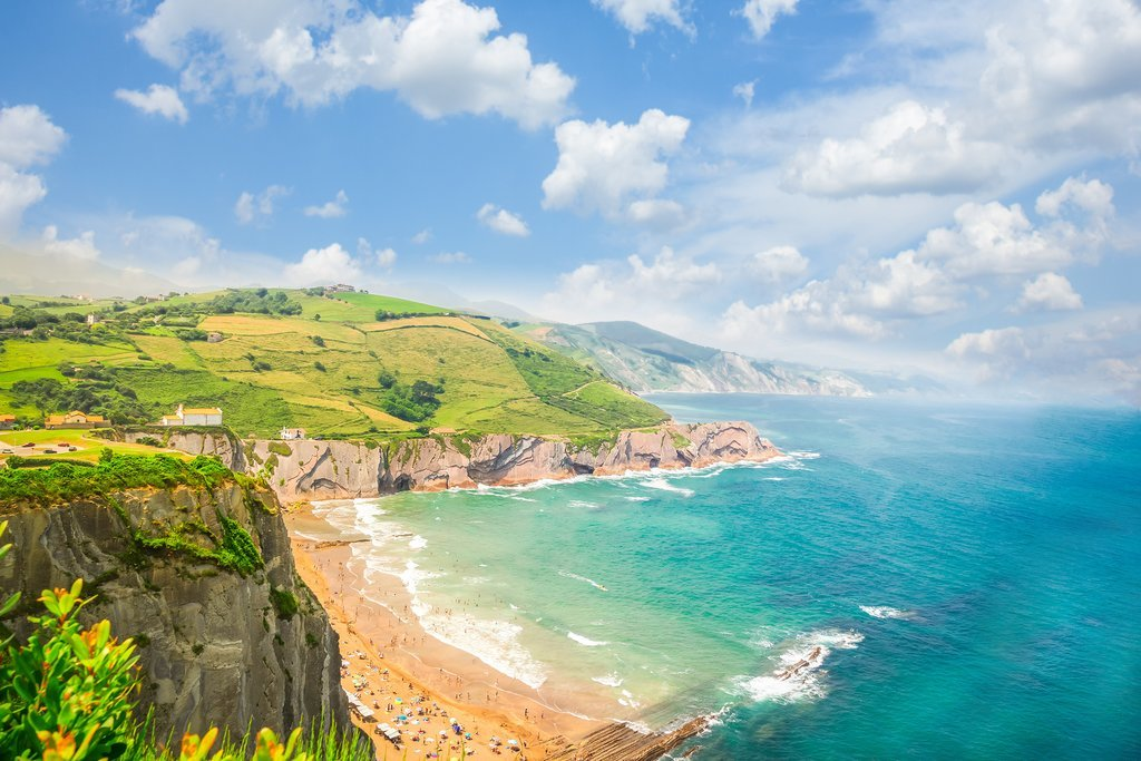 The rugged cliffs of the Basque coast