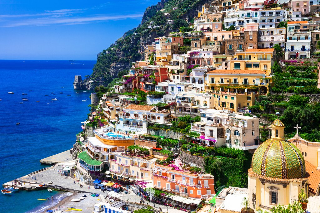 Colorful houses in Positano, along the Amalfi Coast