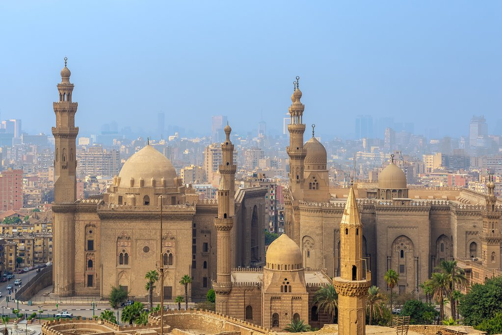 Egypt - Cairo - View of Cairo and Al Sultan Hassan and Al Rifai Mosques from Cairo Citadel
