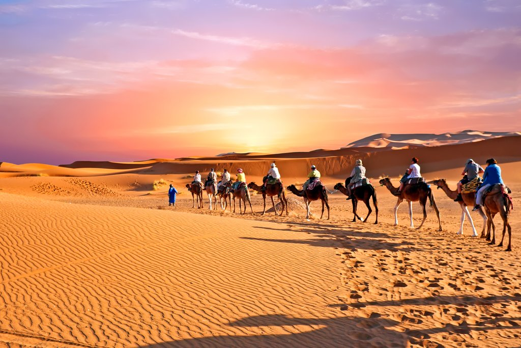 Caravan of camels riding through Erg Chebbi, Morocco