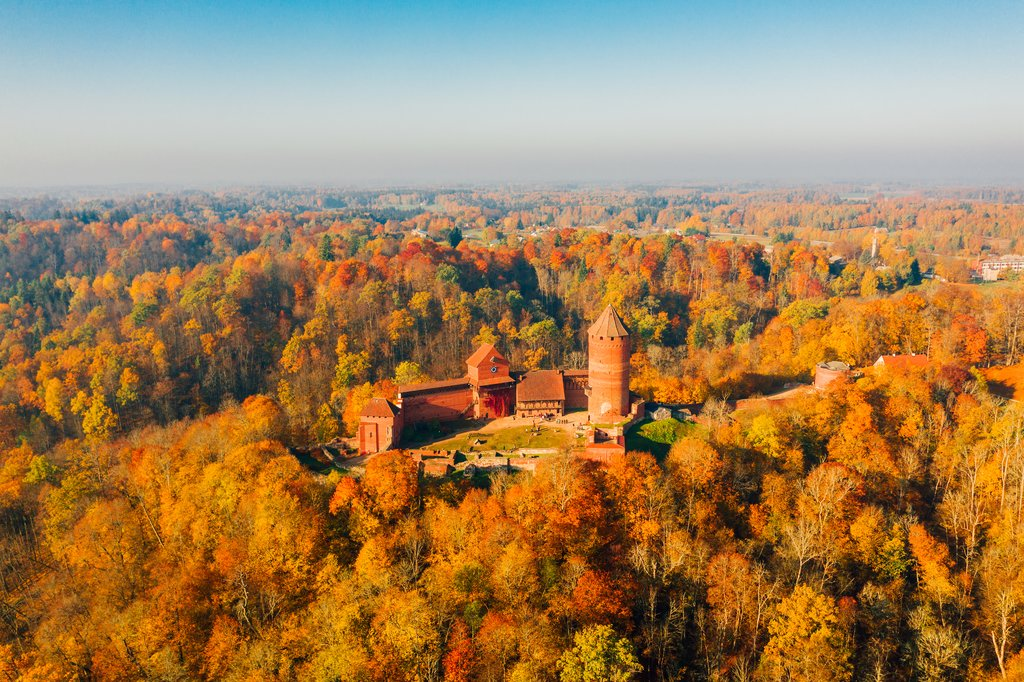 Turaides castle in Sigulda, Latvia during autumn