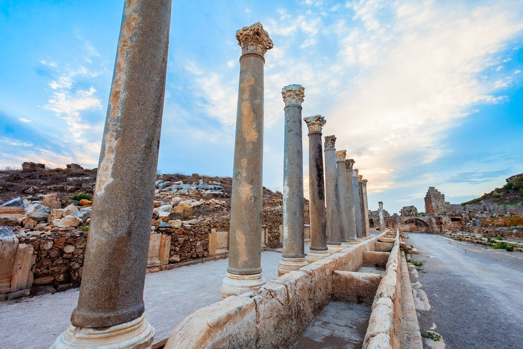 Perfect columns line the streets of Perge