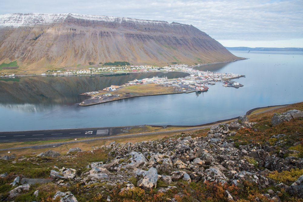 A view looking down on Isafjordur from the Troll's seat hike
