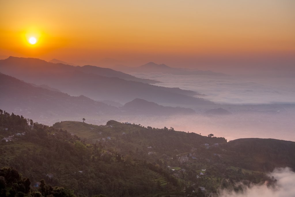 Looking down from Sarangkot at sunrise