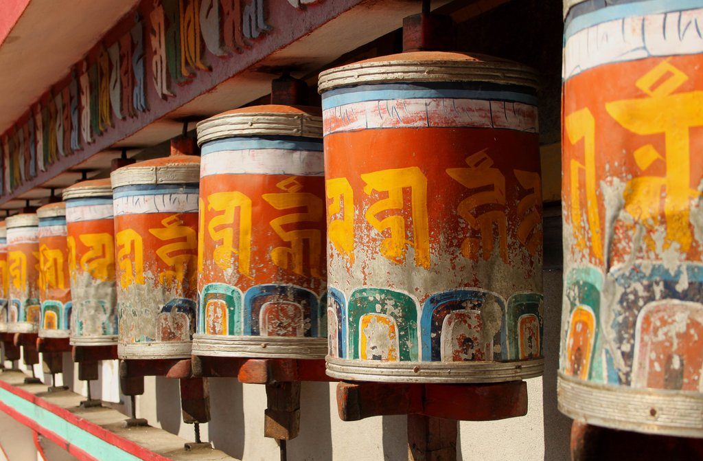 Prayer wheels at Zang Dhok Palri Phodang monastery