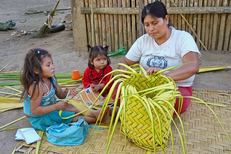 Members of the Moseten tribe weaving baskets.