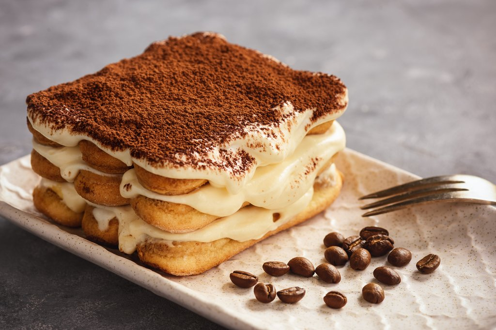 Tiramisu, a layered coffee cake