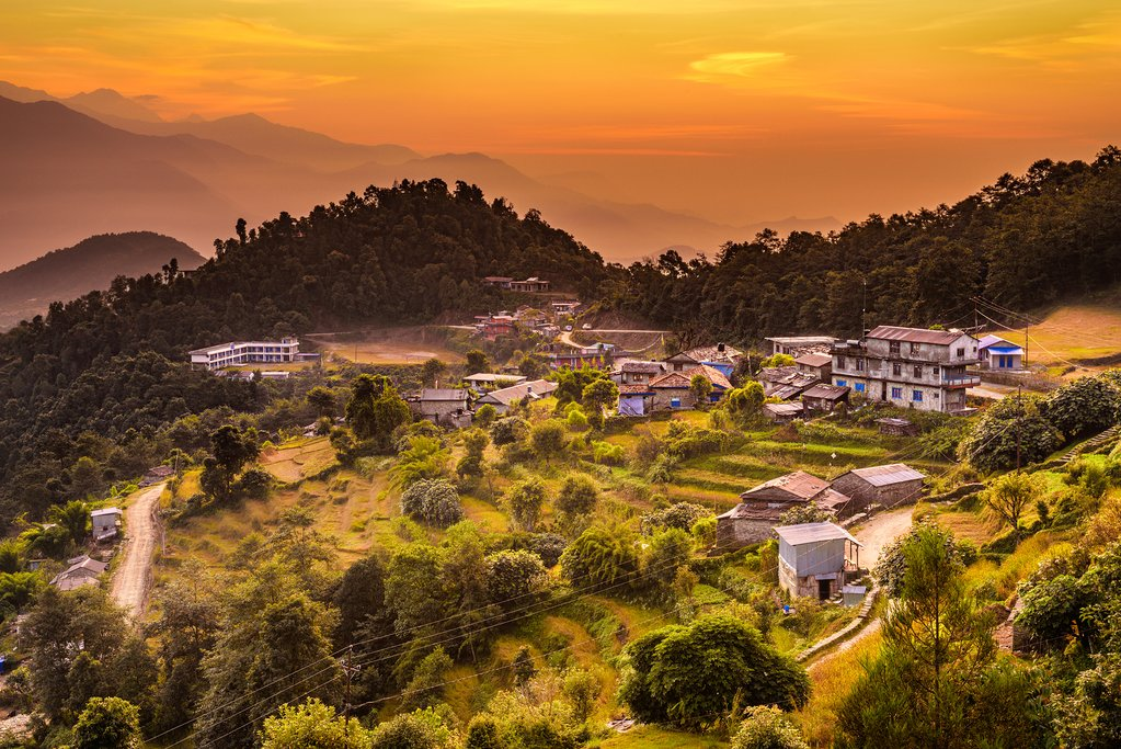 Sunset above village of Dhampus in Nepal