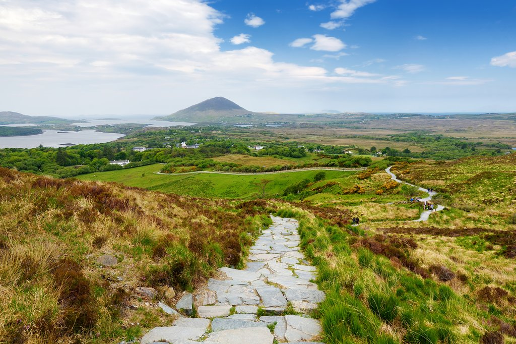 View across the bogs and heaths of Connemara National Park.