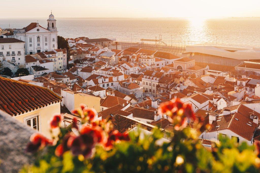 Golden sunrise over Lisbon