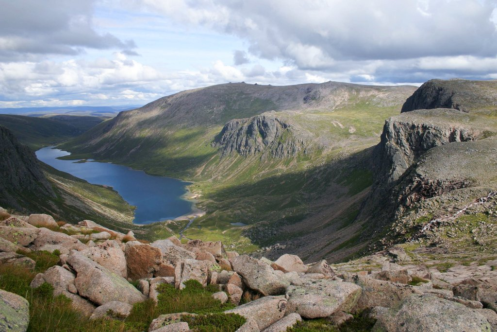 Looking out over the dramatic high lochs of the Cairngorm mountains.