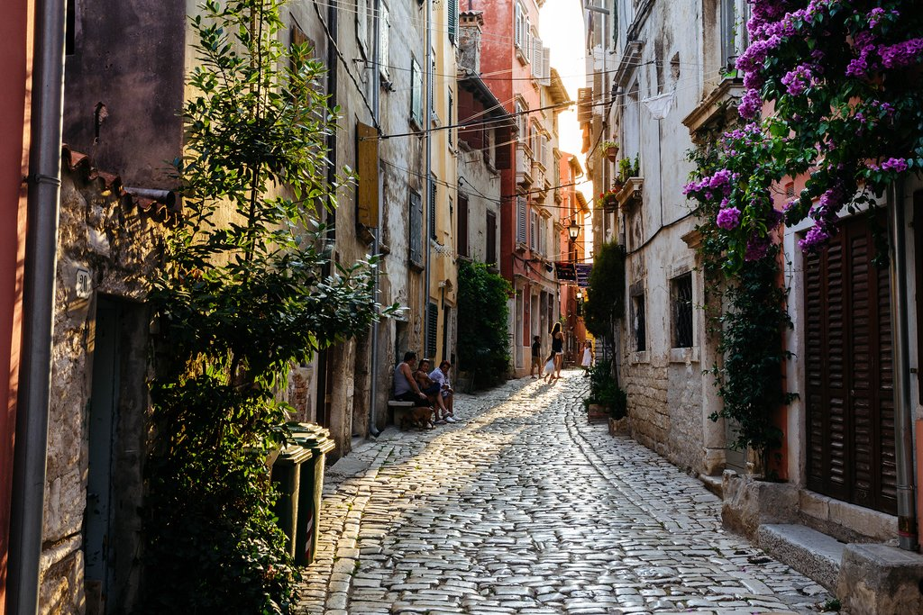 The charming cobblestoned streets of Rovinj's historic core