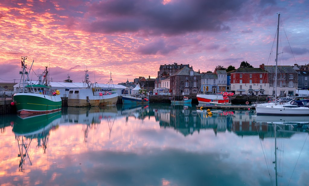 Sunrise over Padstow's harbor.