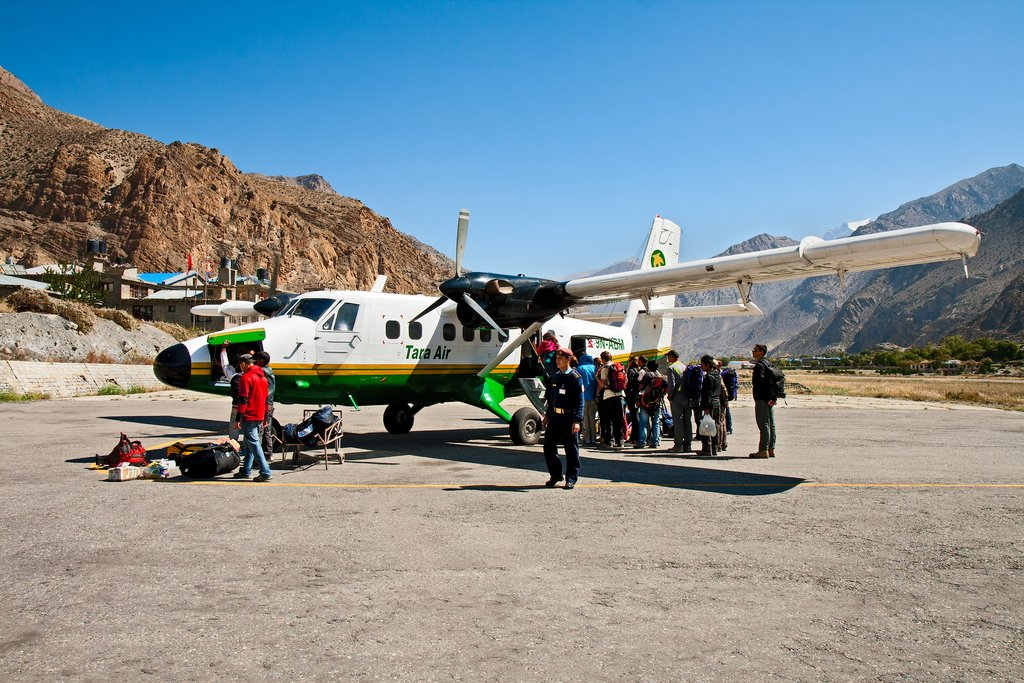 Passengers catching a flight in Jomsom