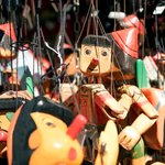 Handcrafted wooden Pinocchio toys