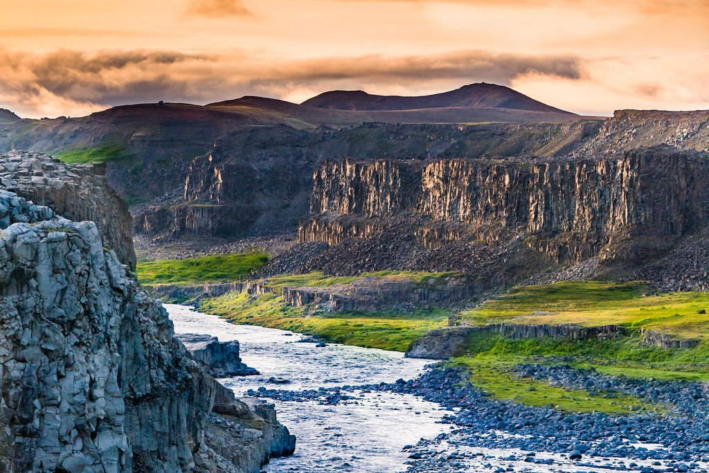 A view down Asbyrgi Canyon, below Dettifoss