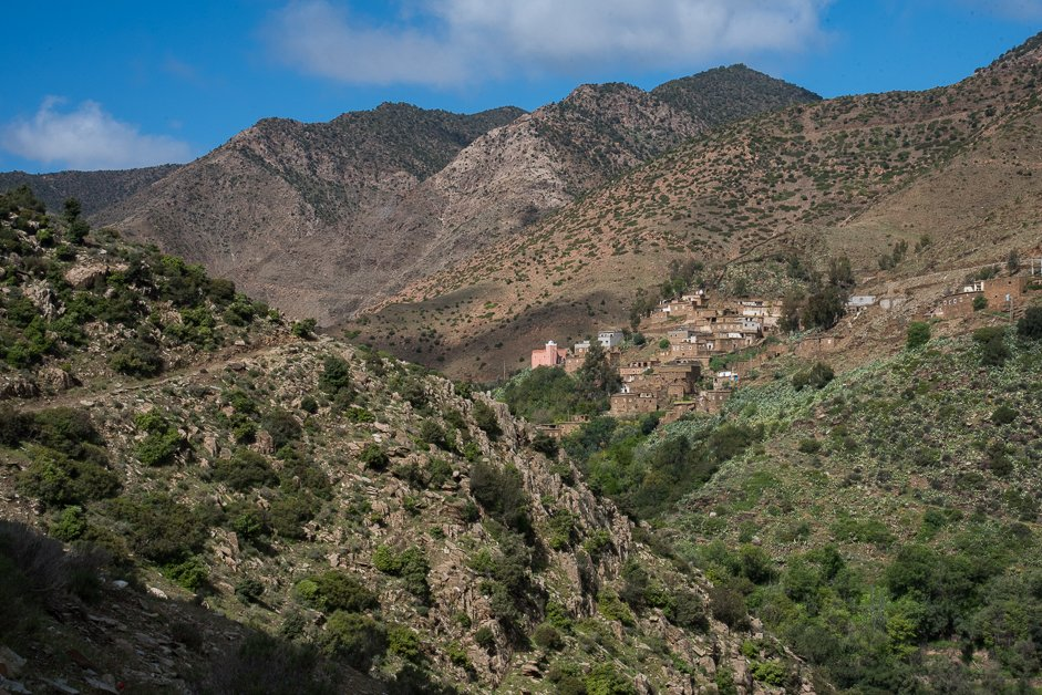 Small villages hug  the Atlas Mountains