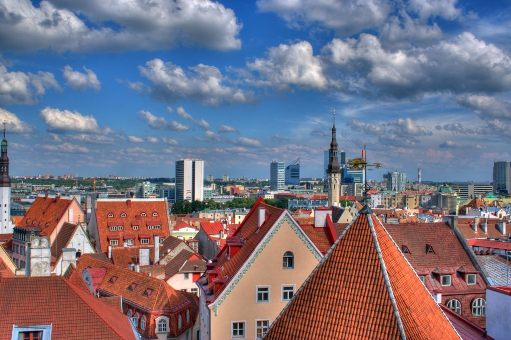 View of historic rooftops in Tallinn