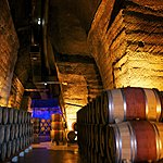 Barrels of wine at Chateauneuf du Pape