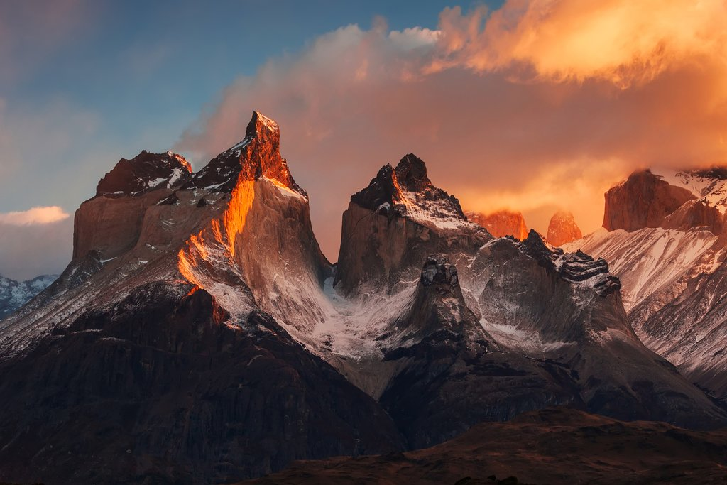 Sunrise over Cuernos del Paine