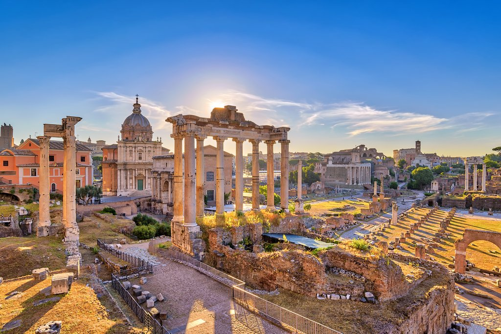 Ancient Roman ruins at sunrise