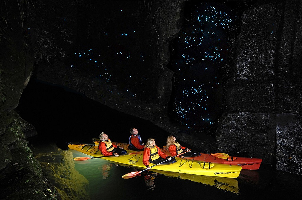 Go on a glowworm cave tour by kayak