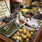 Fresh olives and pickles at the market
