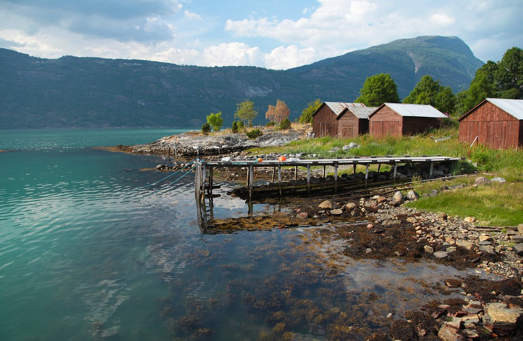 Classic red barns of Balestrand