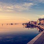 Beautiful sunset on the Venice lagoon