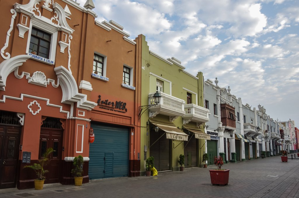 Colonial houses in downtown Trujillo