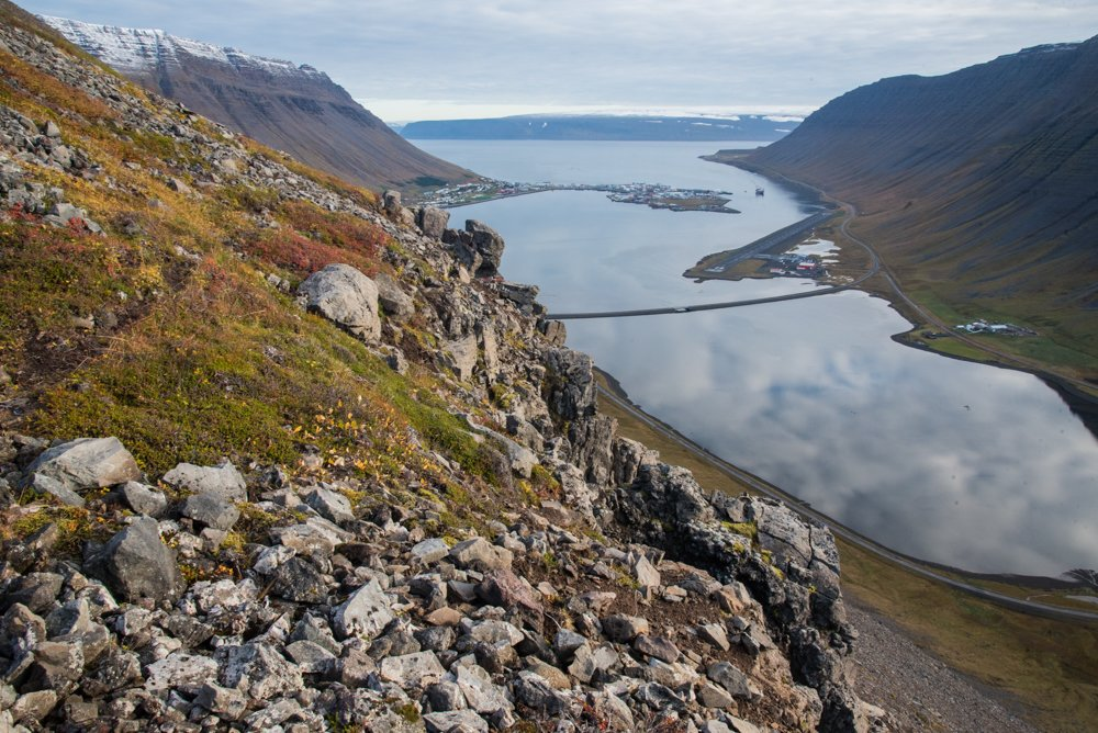 A view down on Isafjordur in the Westfjords