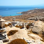 An aerial view of the archaeological site at Delos