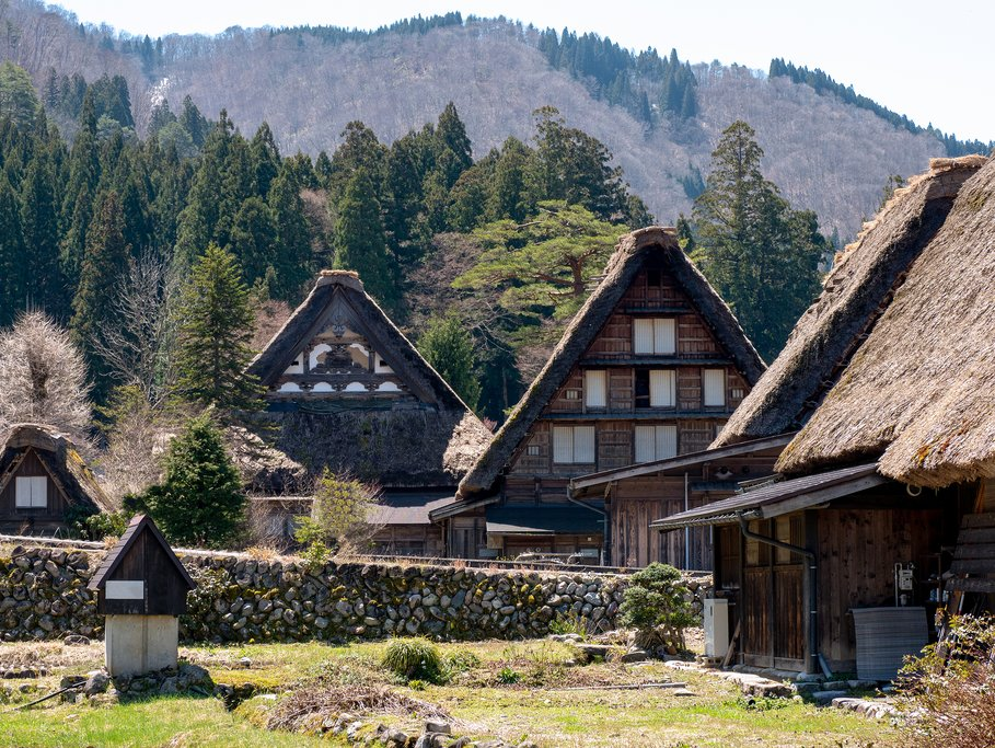 The traditional thatched houses of Shirakawa-go.