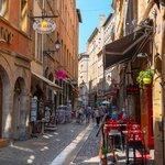 Café-lined alleyways of Lyon